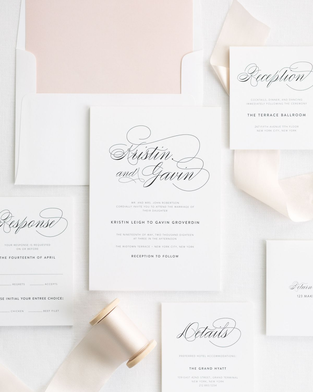 Classic Wedding Invitations with Pale Pink Silk Ribbon and Large Script Names