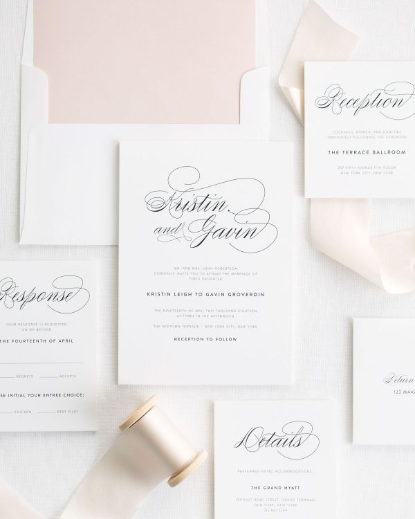 cashmere ribbon wedding invitations with a rose gold envelope liner