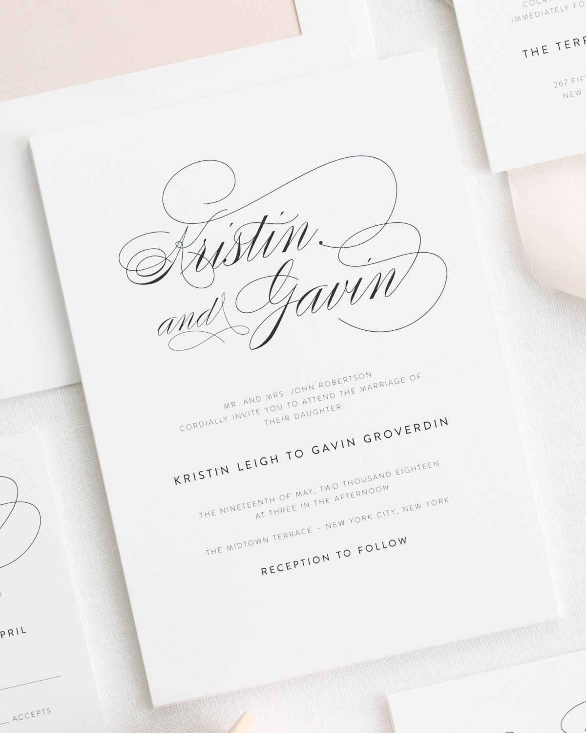Timeless Wedding Invitations with Big Script
