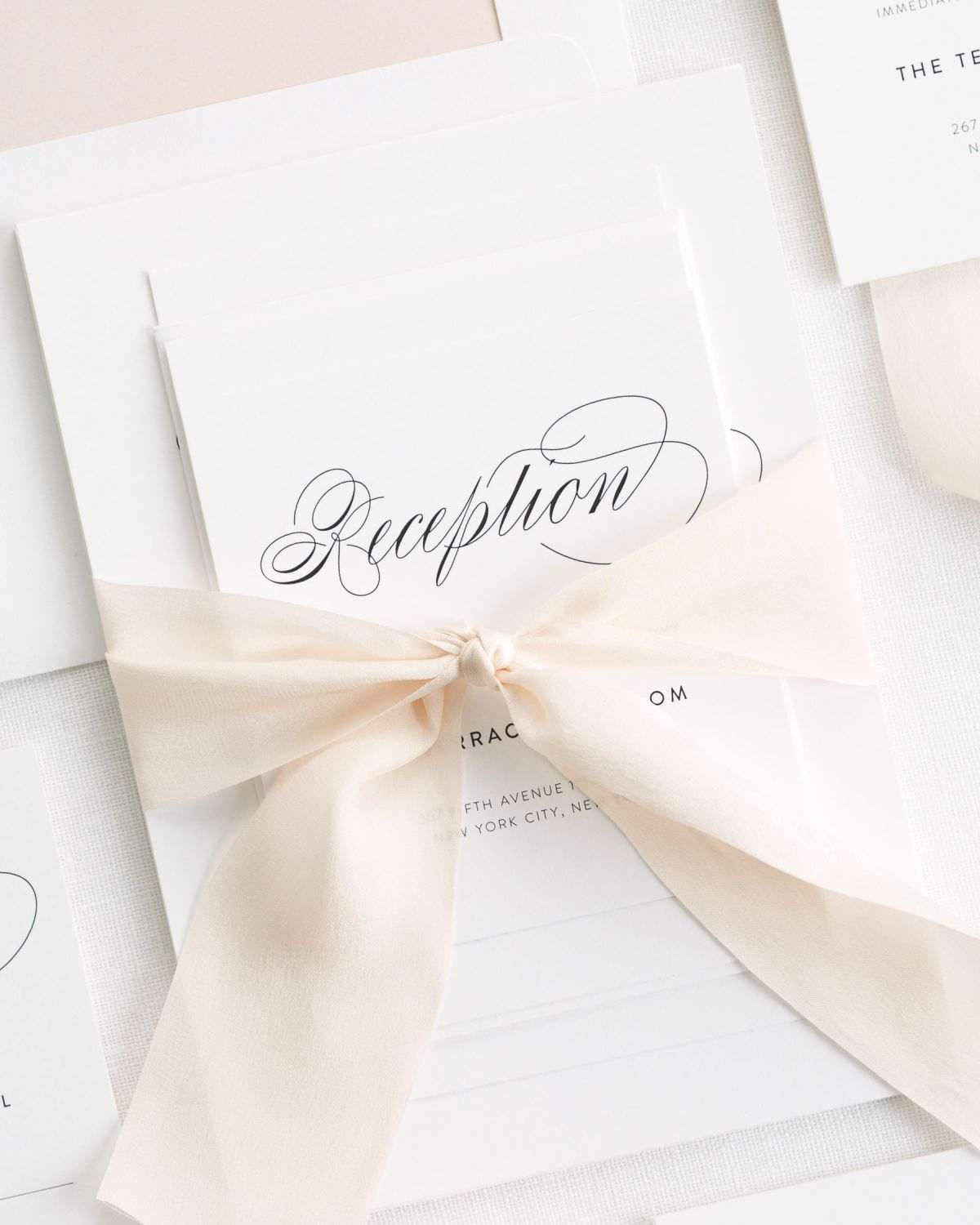 Silk Ribbon Wedding Invitations in Pale Pink