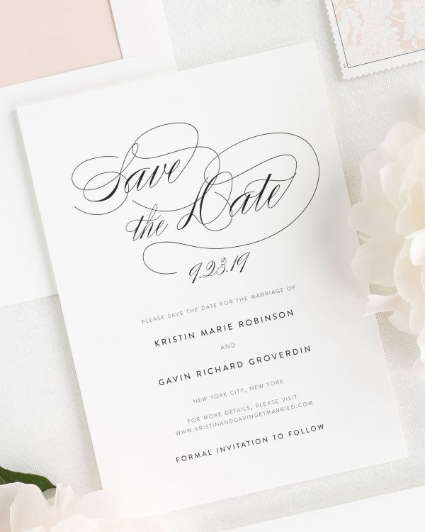 Script Elegance Save the Date Cards