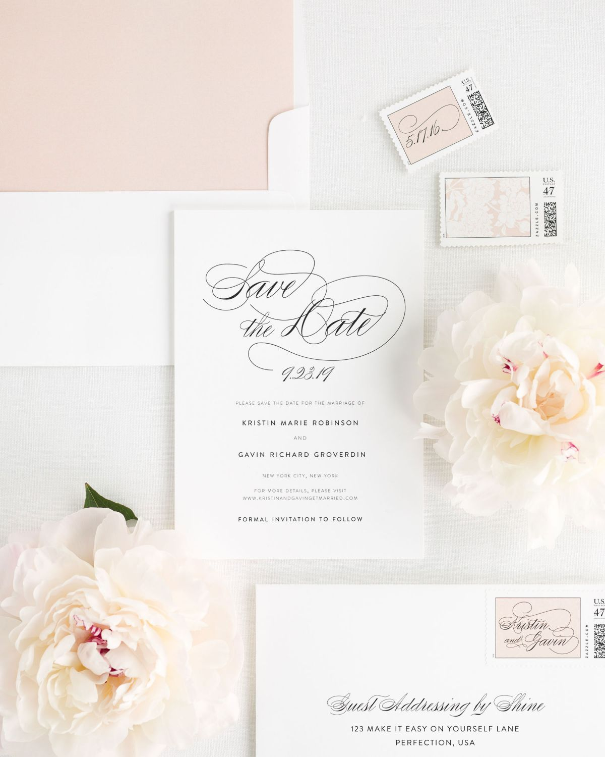 rose gold save the dates with custom stamps