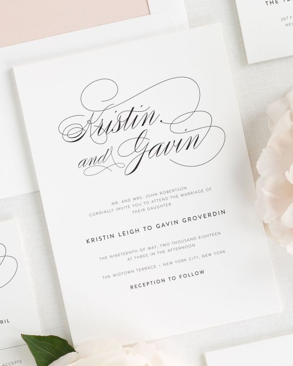 Script Elegance Wedding Invitations