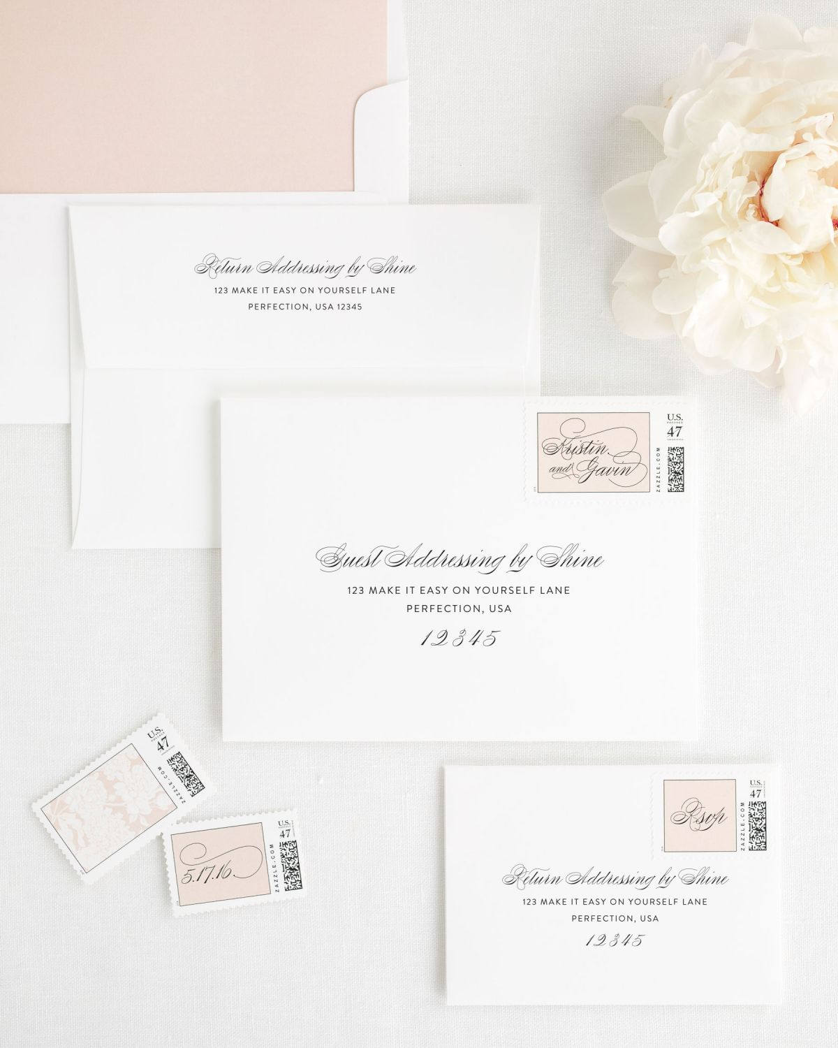Wedding Invitations Envelopes with Rose Gold Custom Stamps and a Solid Rose Gold Liner