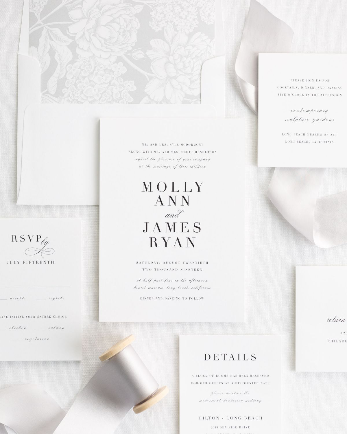 Simple and Classic Wedding Invitations with a in silver gray with a floral liner