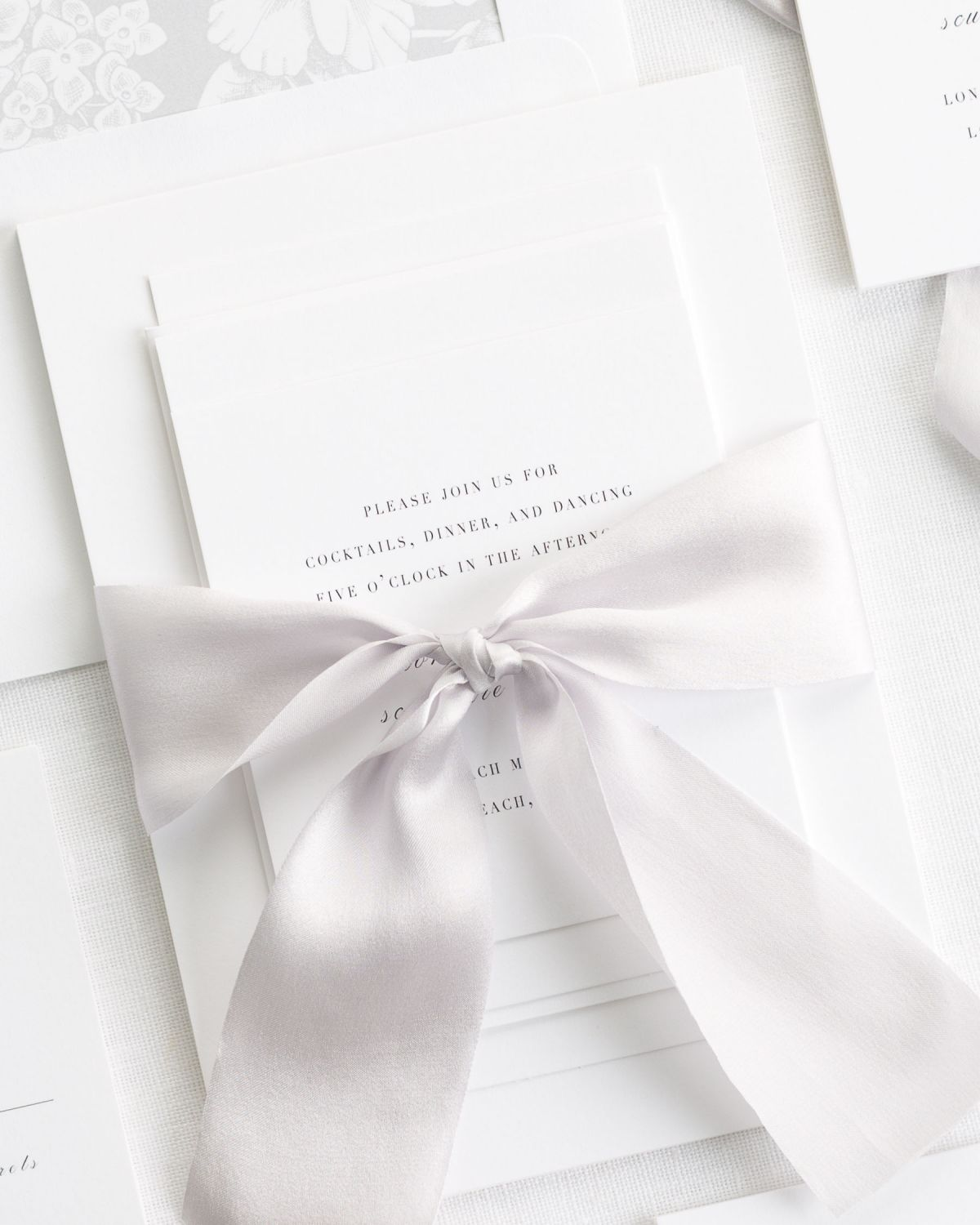 Light Gray Wedding Invitations with Silk Ribbon