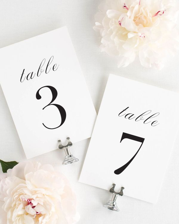 Serif Romance Table Numbers