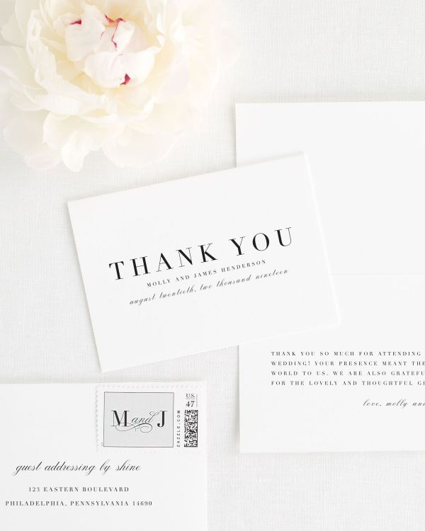 Serif Romance Thank You Cards