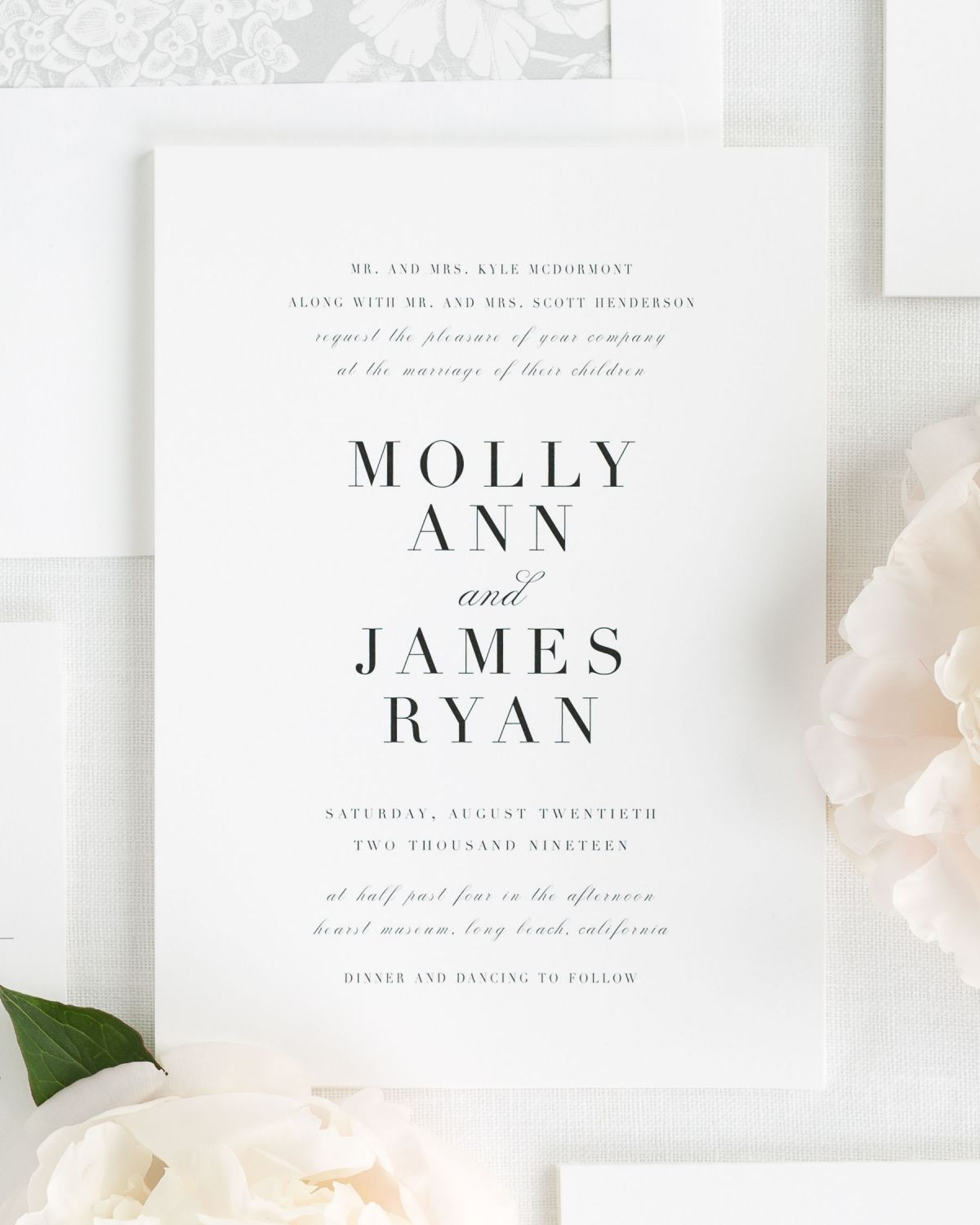 Large Non-Script Names Wedding Invitations