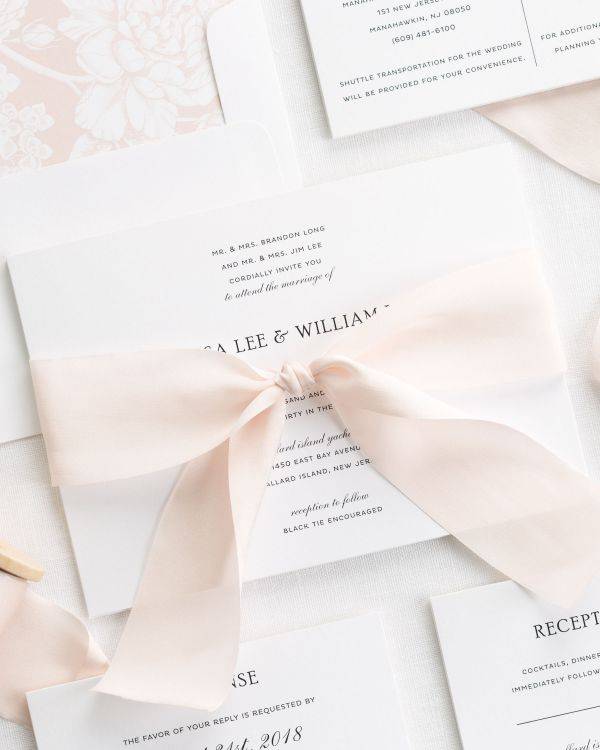Simple Elegance Ribbon Wedding Invitations