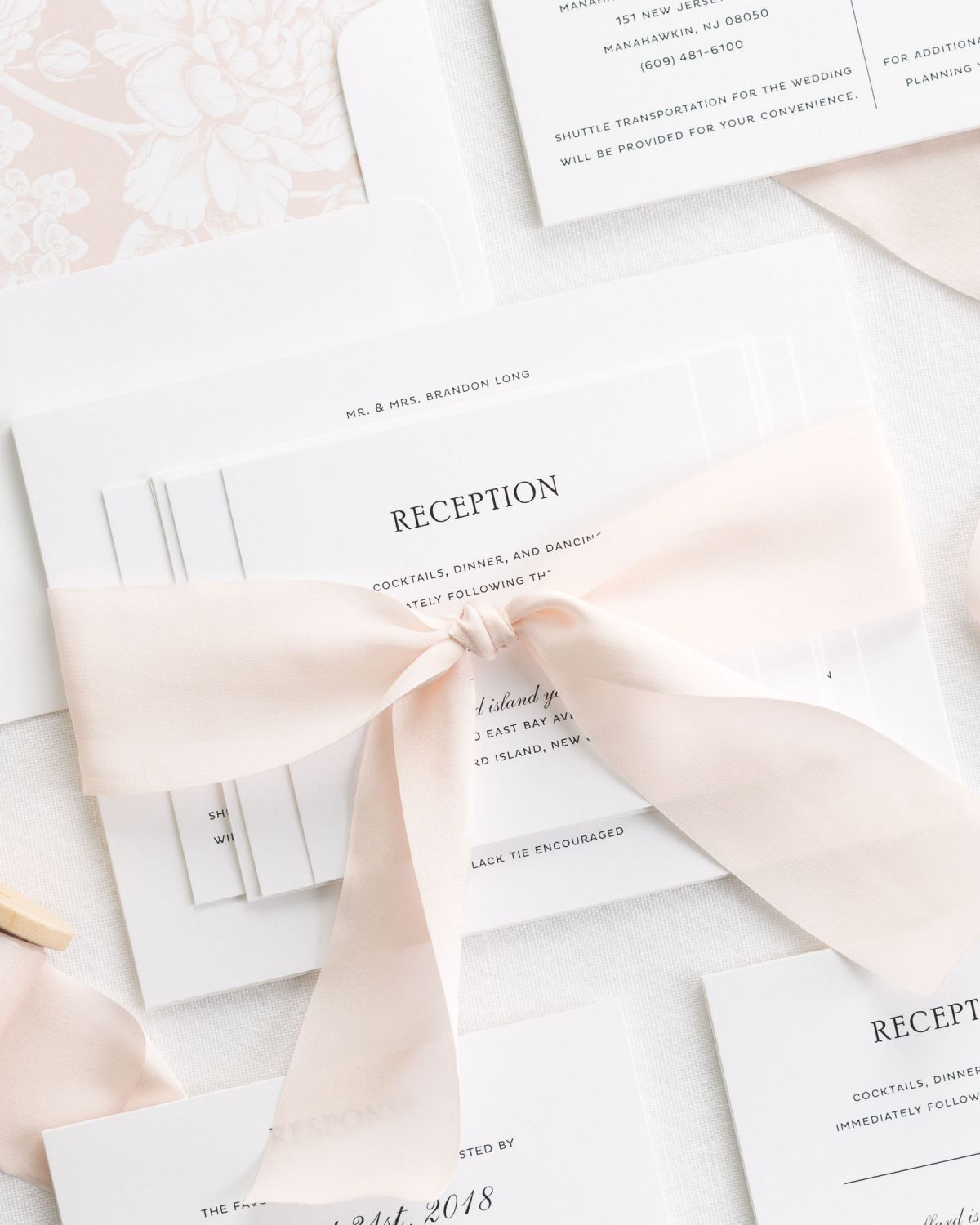 Rose Gold Wedding Invitations with Silk Ribbon