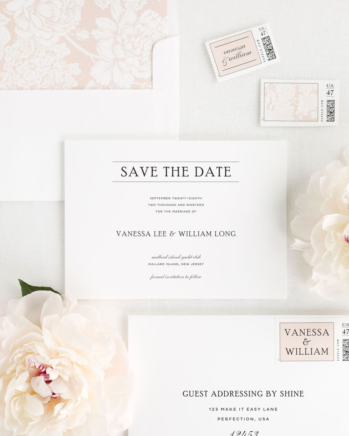 Save the Date with Rose Gold Envelope Liner and Personalized Stamps
