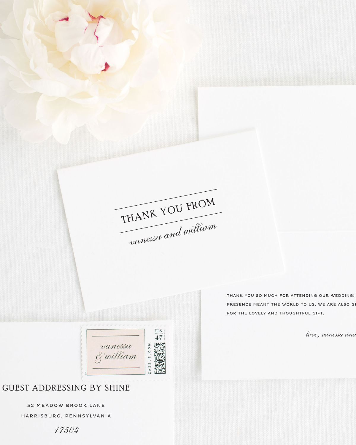 Script elegance Thank You Cards for Weddings