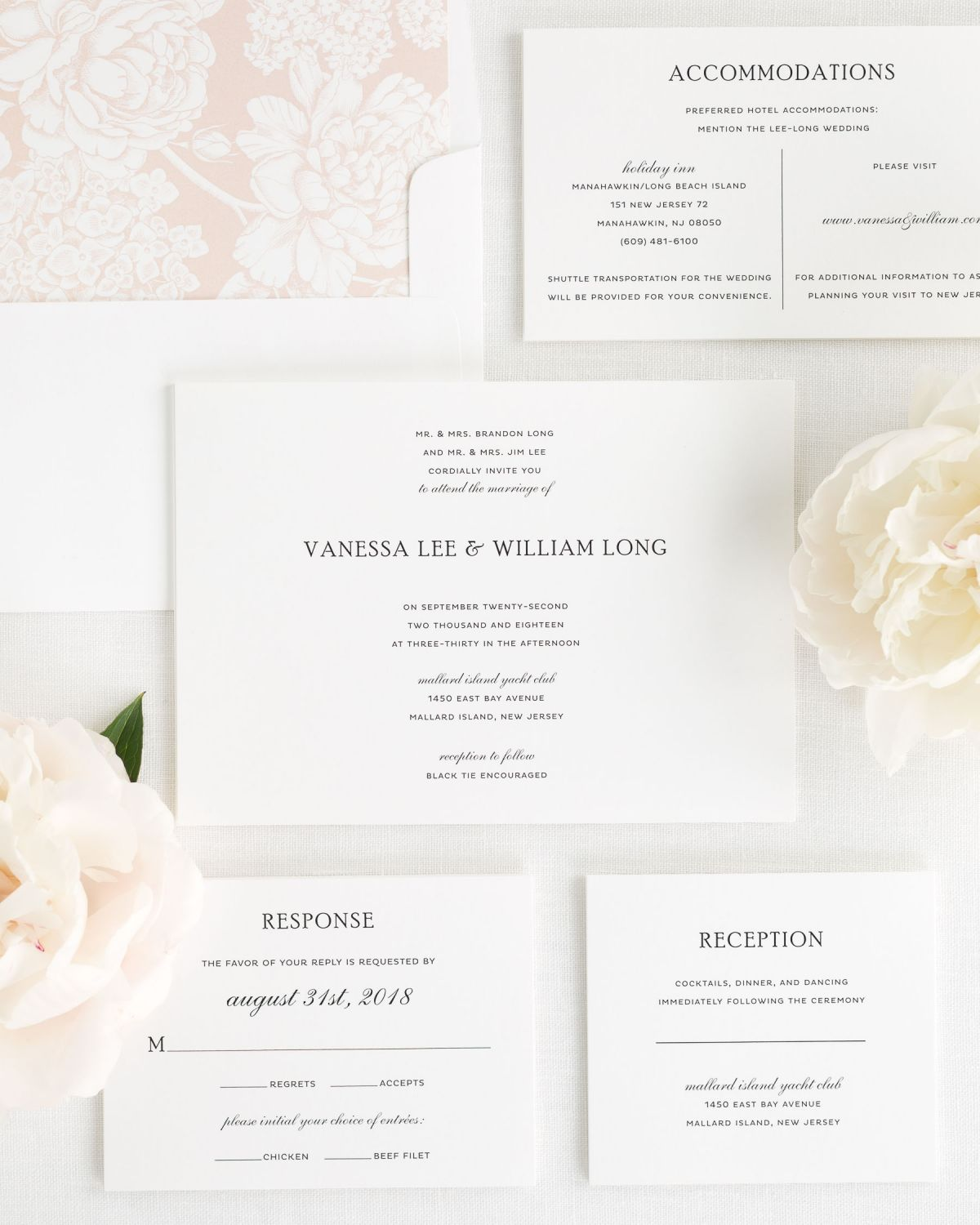 Wedding Invitations Set with Rose Gold Envelope Liner