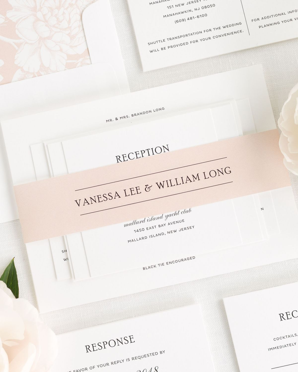 Rose Gold Wedding Invitations with Belly Band and Hydrangea Envelope Liner