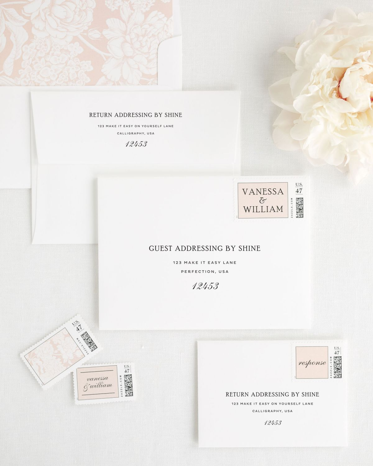Wedding Invitations Envelopes with Rose Gold Personalized Postage and Hydrangea