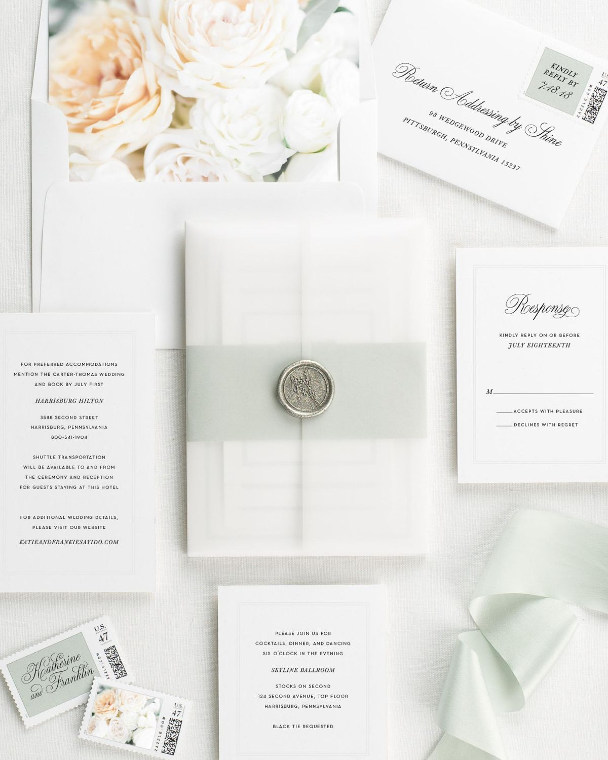 Simply Classic Floral Wedding Invitations - Floral Wedding ...