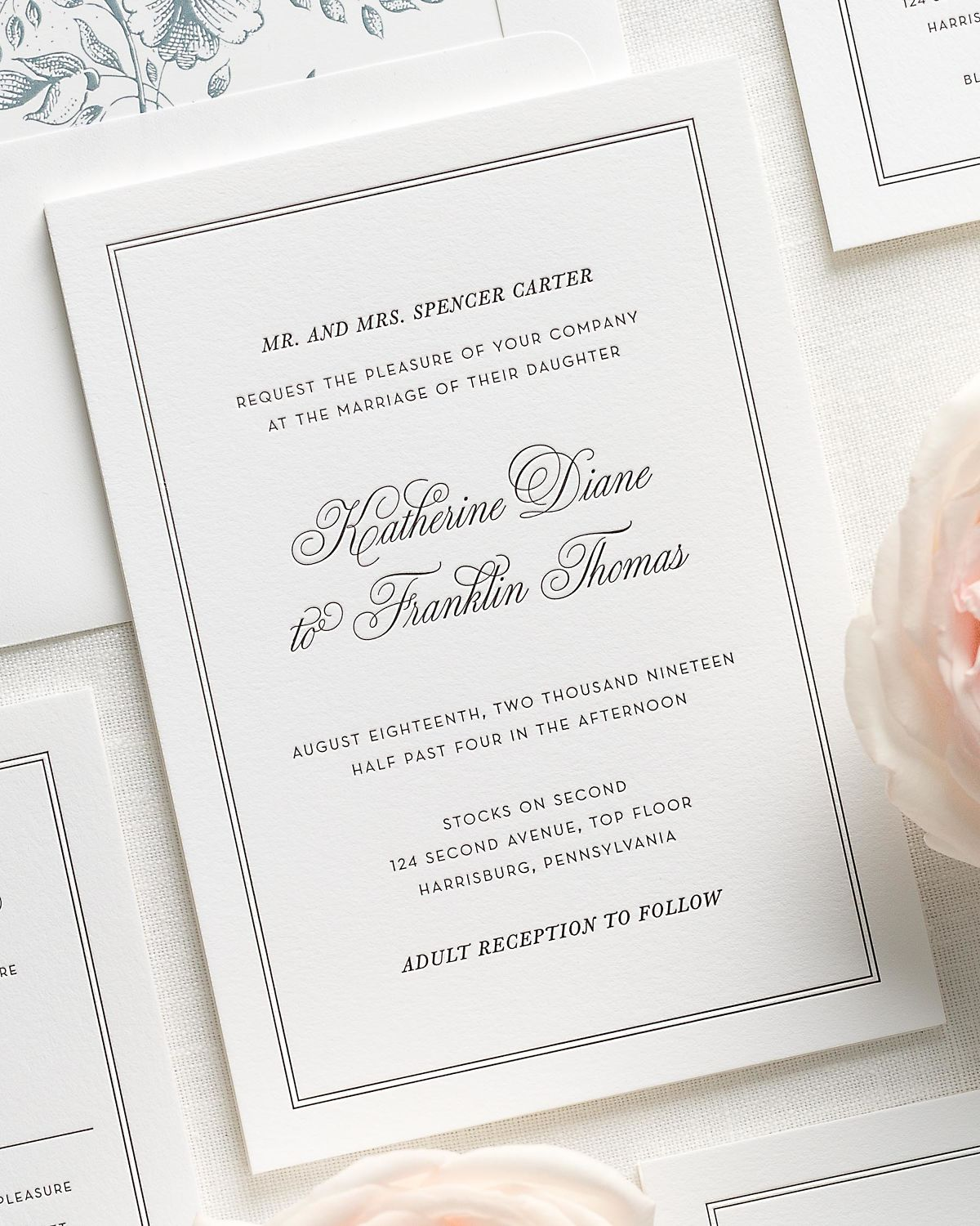 classic and traditional letterpress wedding invitations with a mineral liner
