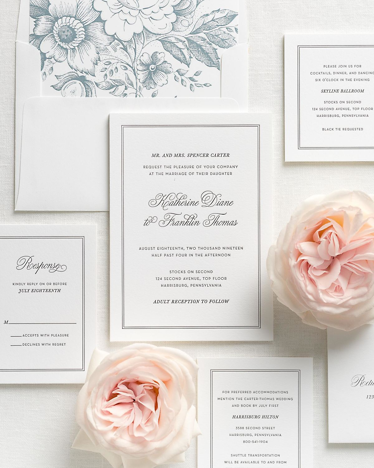 Letterpress Wedding Invitations with Mineral Garden Rose Envelope Liner and Matching Accessories