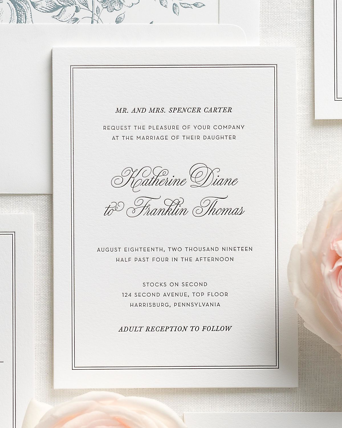 Mineral Wedding Invitation Suite with Letterpress Printing