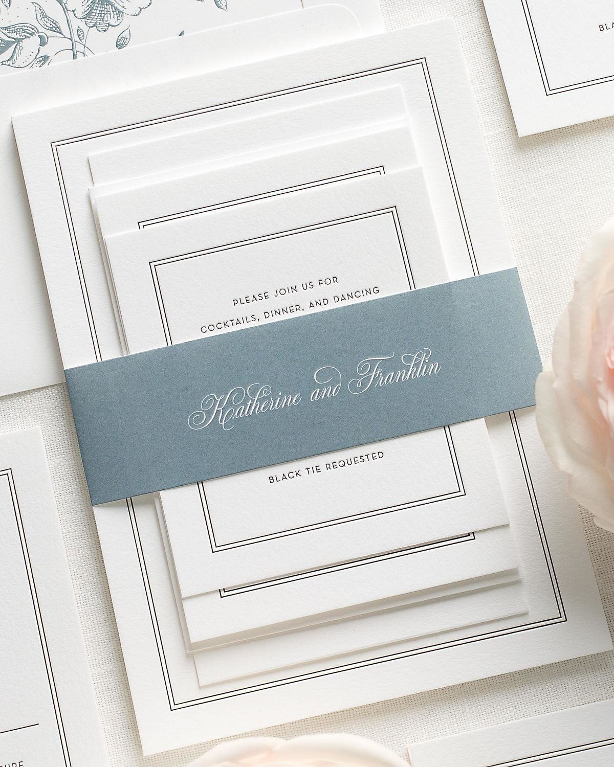 Wedding Invitations with Blue Gray Belly Band and Letterpress Printing