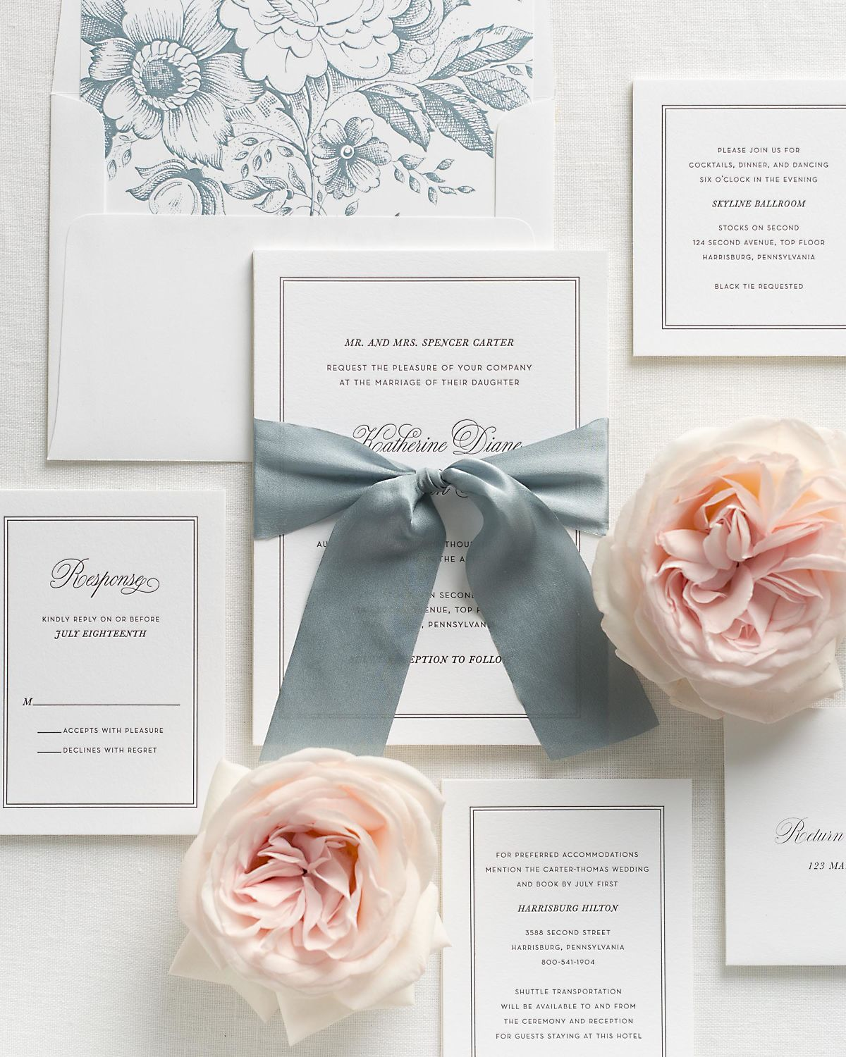 Mineral Wedding Invitations with Whisper Blue Silk Ribbon and Letterpress Printing