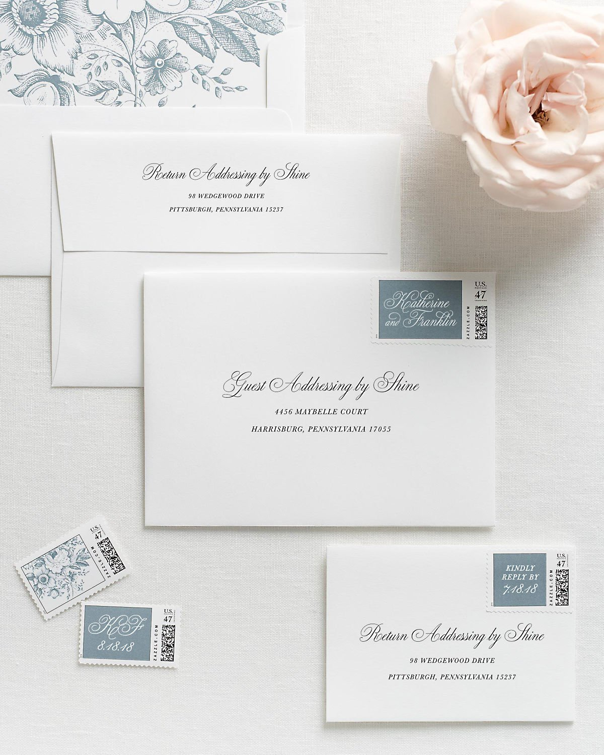 Wedding Invitation Envelopes with Pre-Printed Addresses and Matching Mineral Blue Custom Stamps