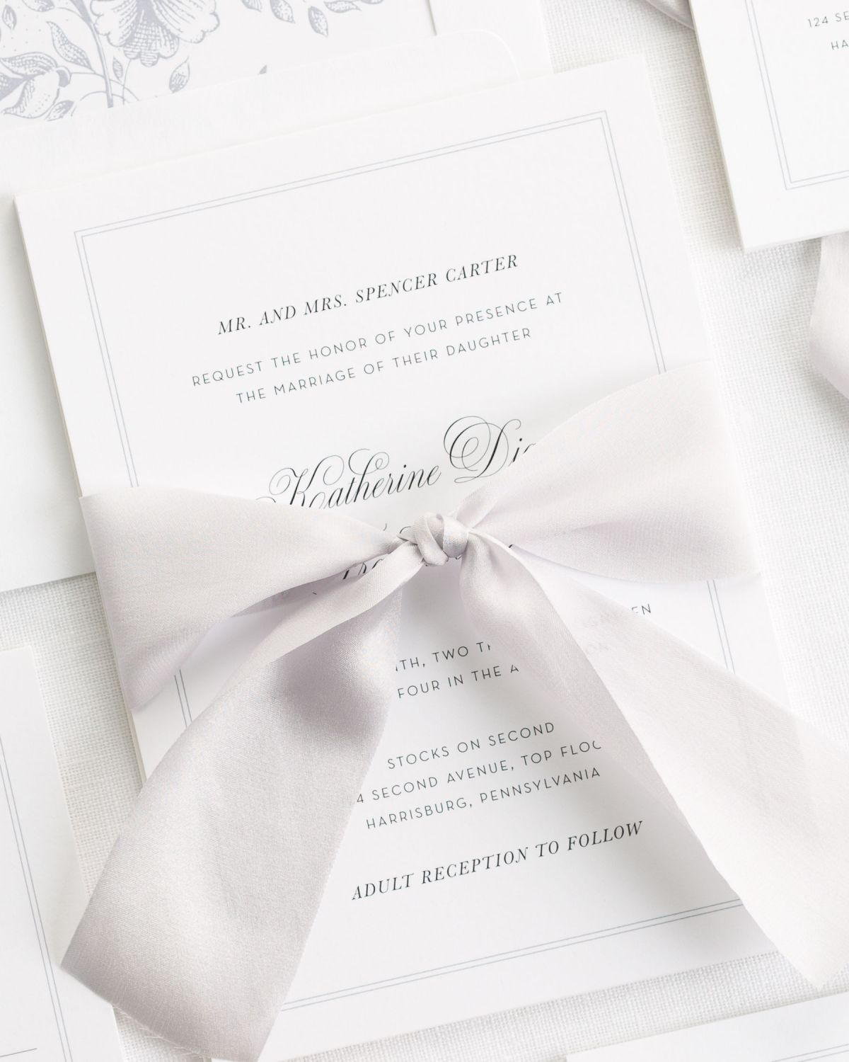 Simple Border Wedding Invitations with a floral envelope liner in light gray and silk ribbon