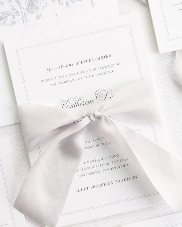 Simply Classic Ribbon Wedding Invitations