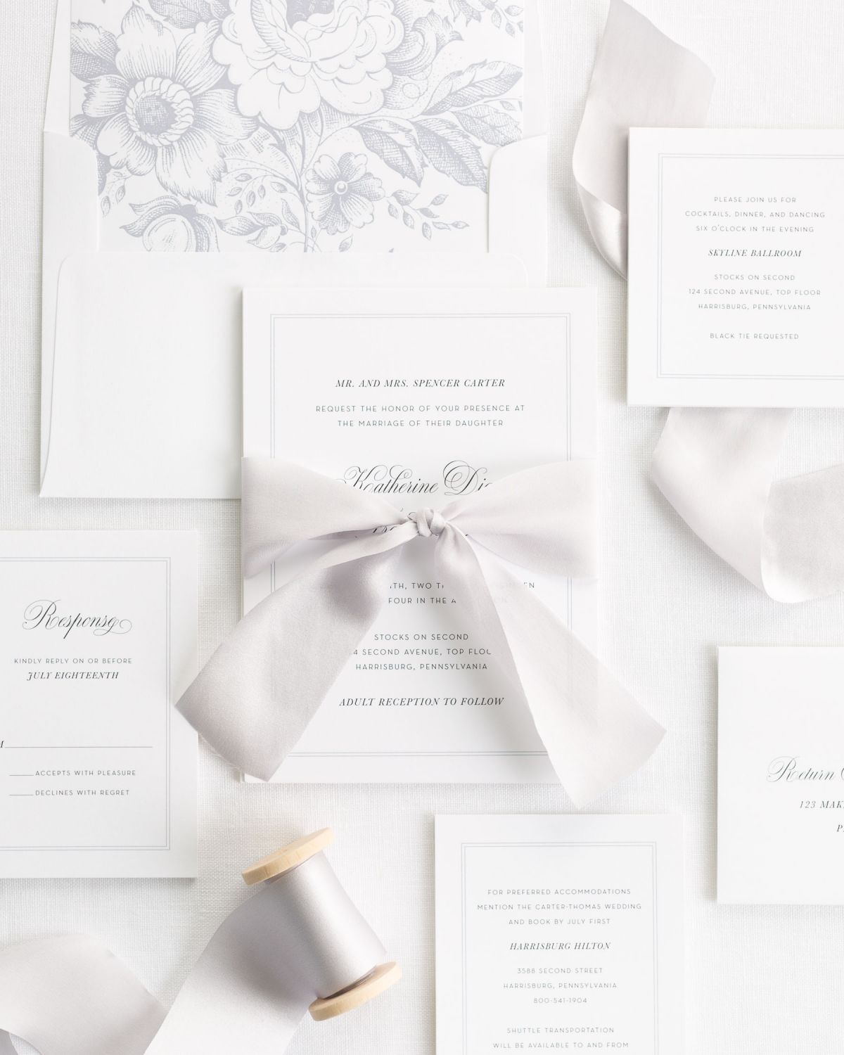 Classic Silk Ribbon Wedding Invitations in platinum gray