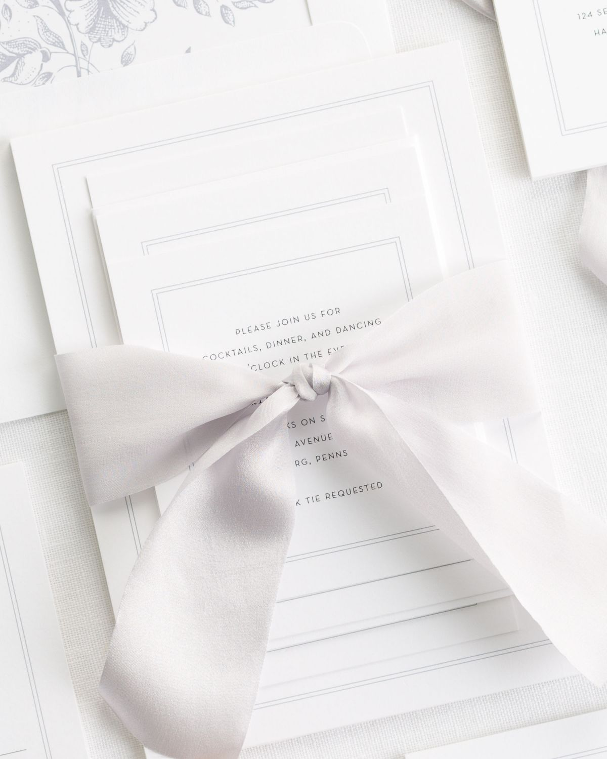 Dove Wedding Invitations with Silk Ribbon