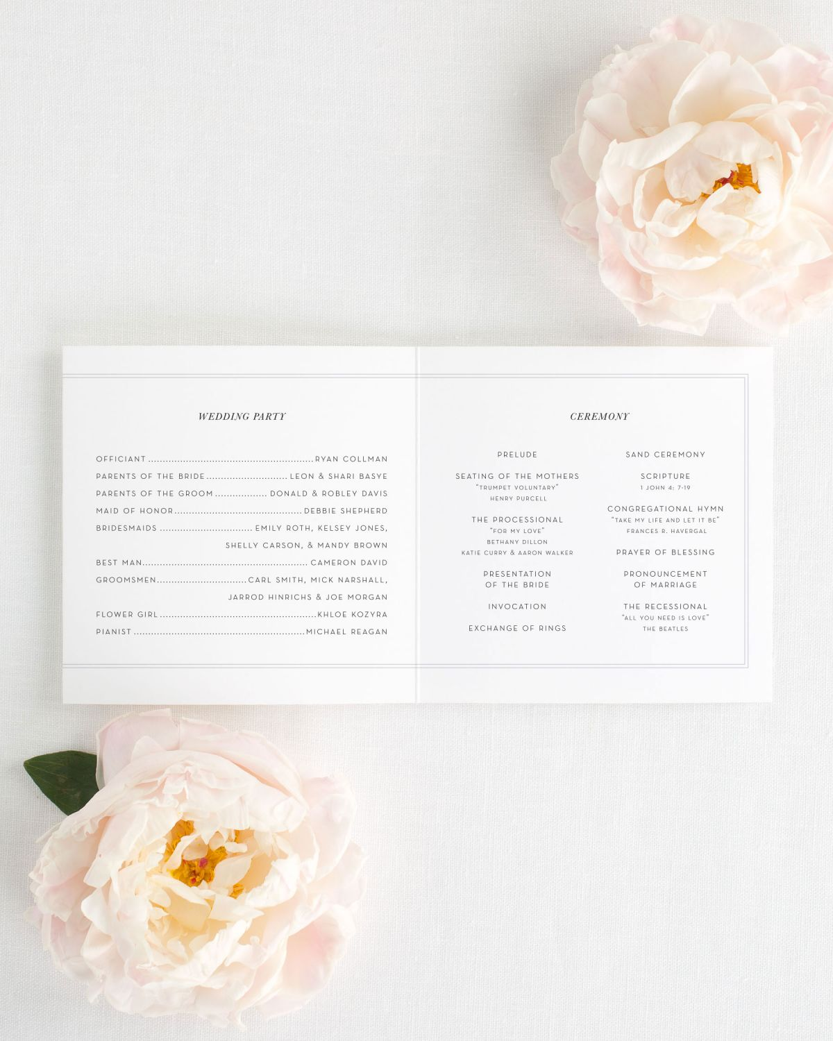 Trifold Wedding Programs Interior