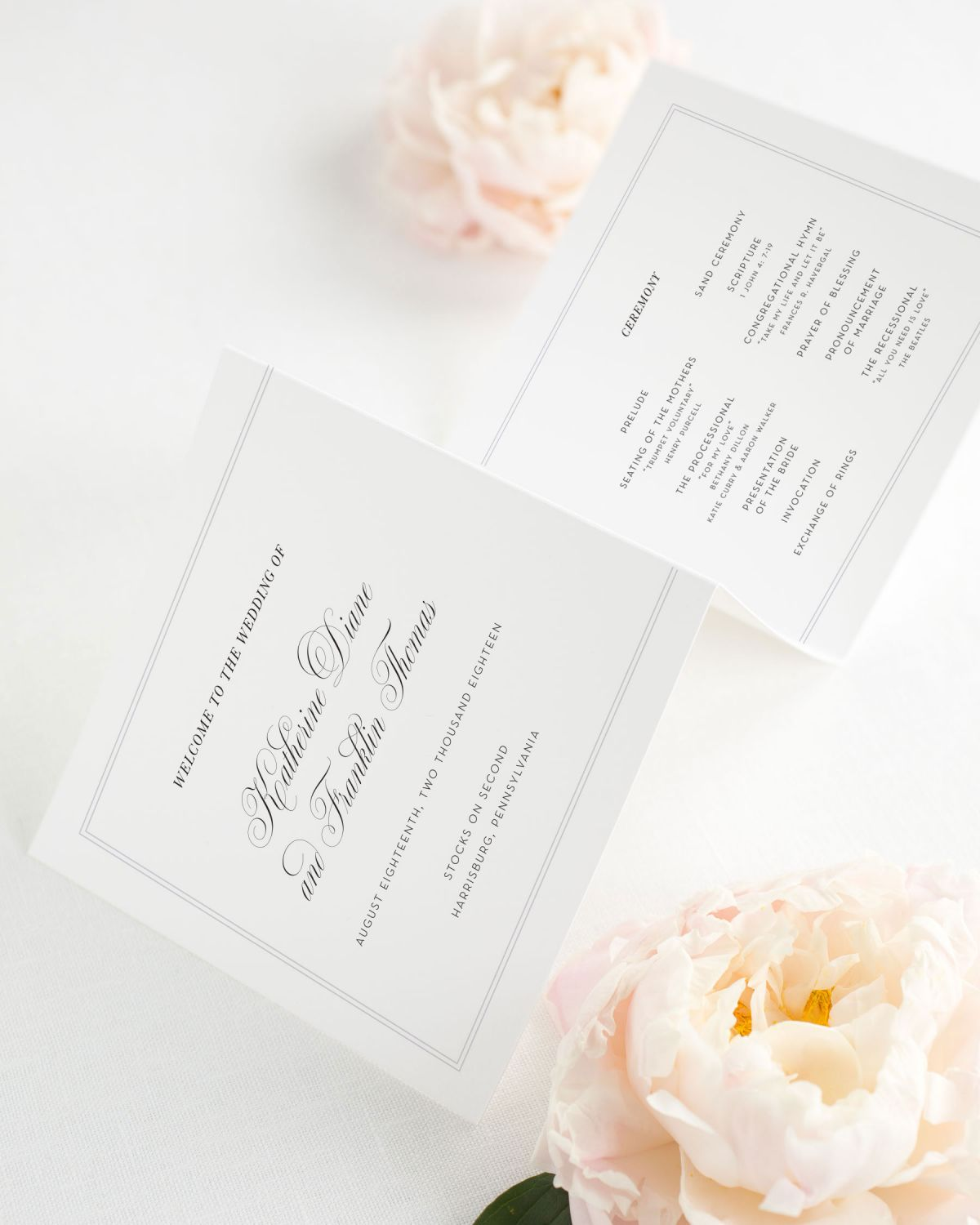 Square Trifold Wedding Programs