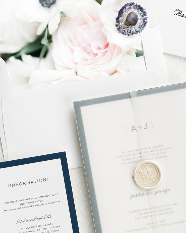 Sophisticated Modern Floral Wedding Invitations