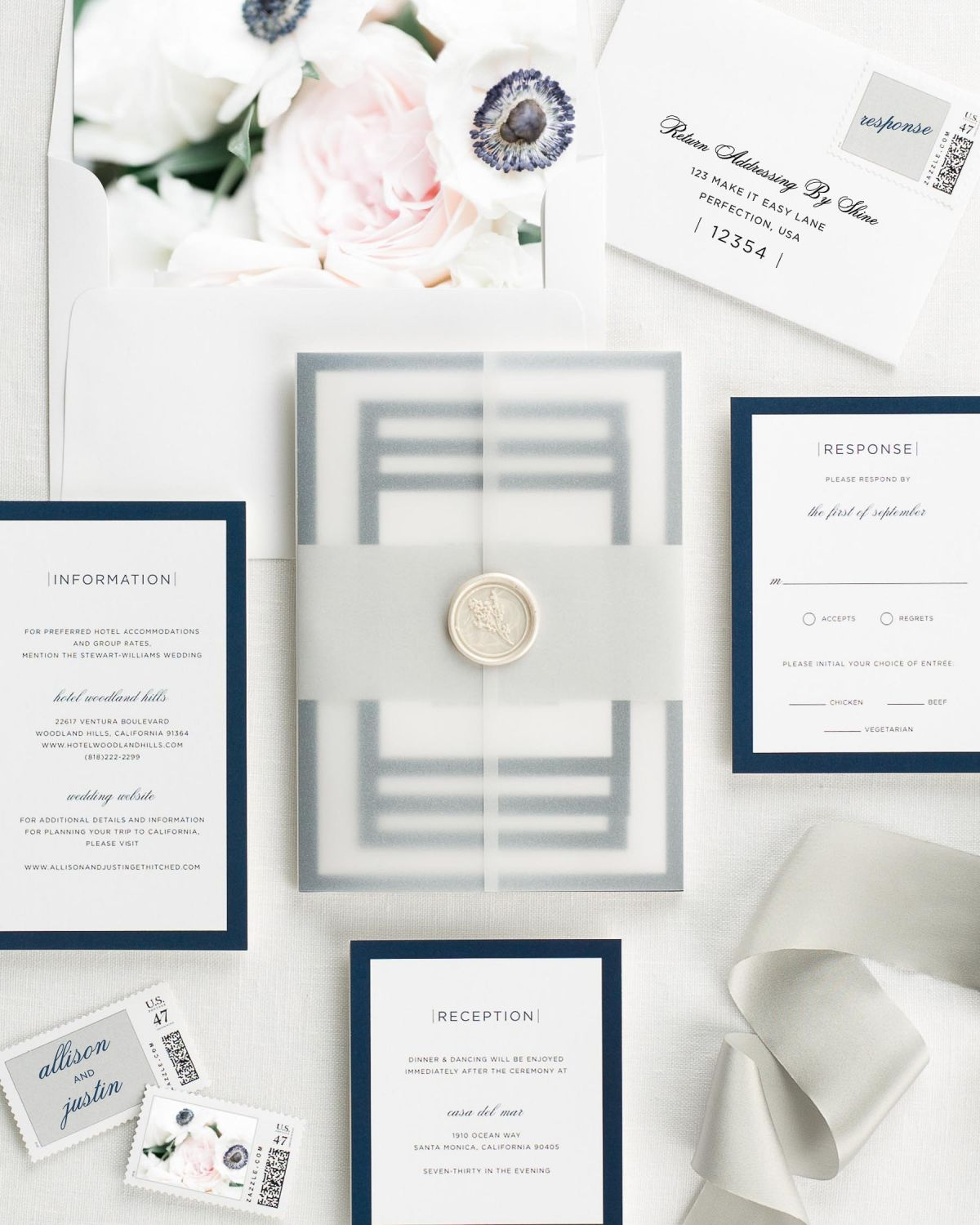 Sophisticated Modern Floral Wedding Invitations - Floral Wedding ...