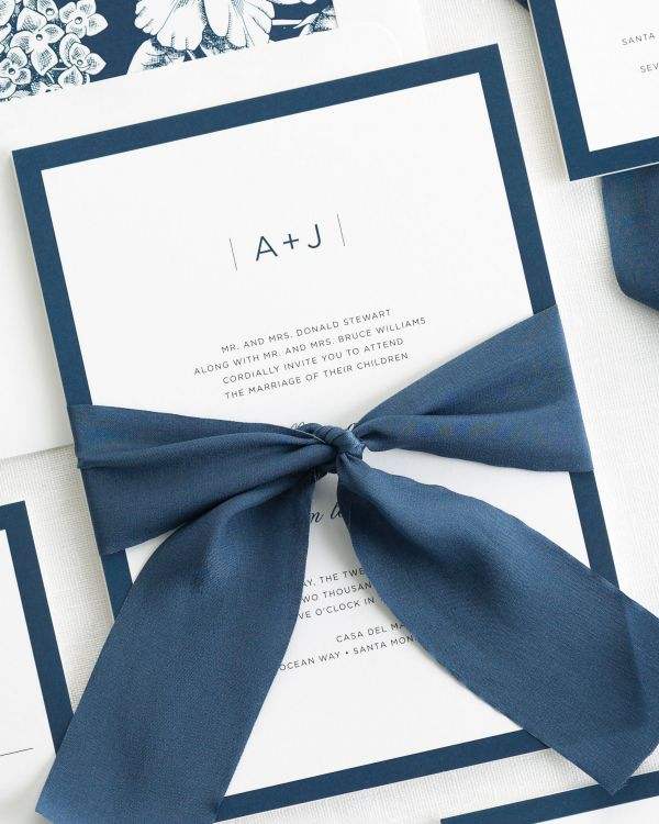 Sophisticated Modern Ribbon Wedding Invitations
