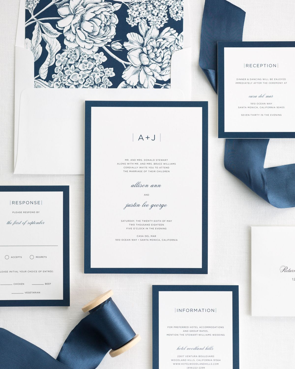 Wedding Invitation Package with Silk Ribbon