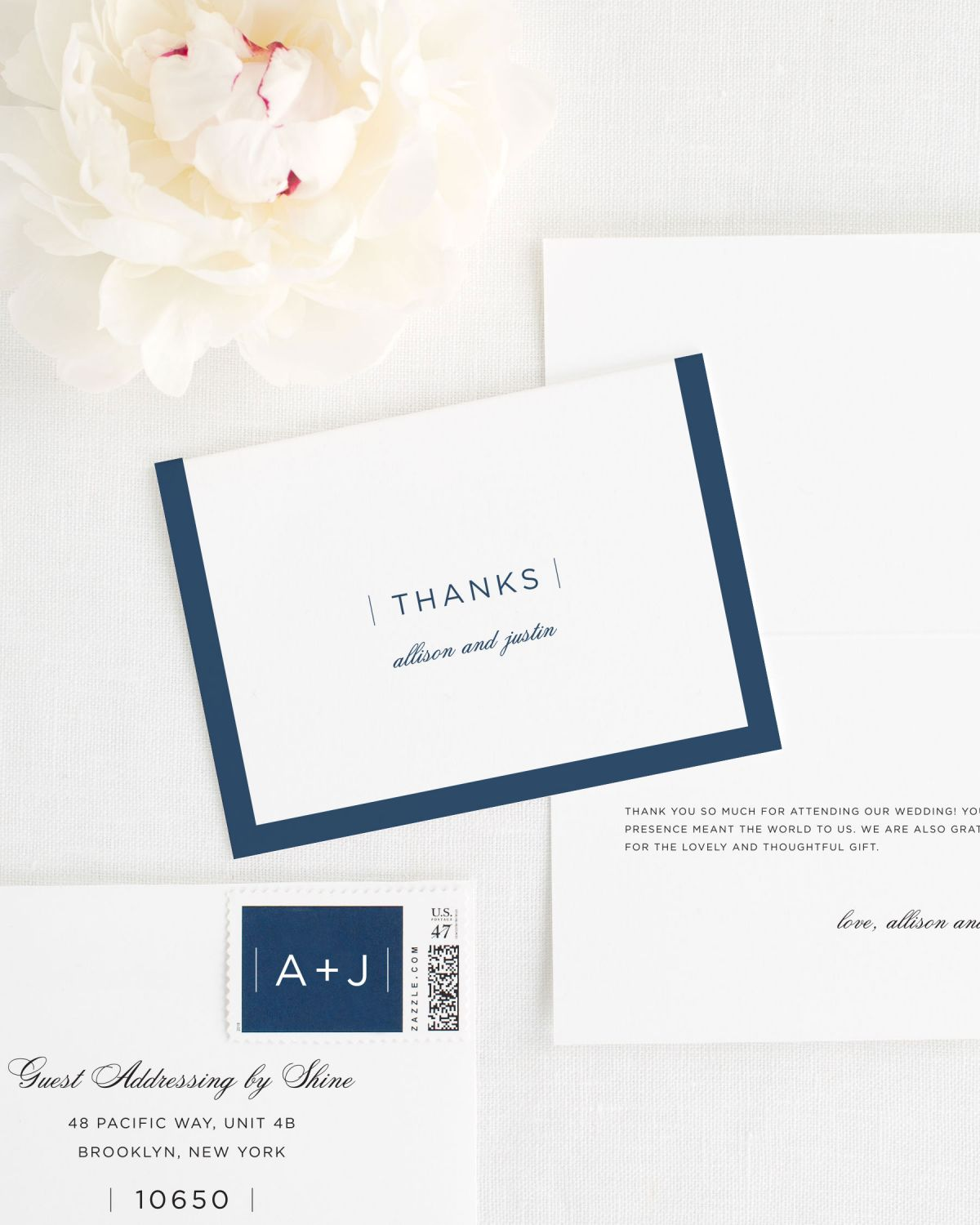 Sophisticated Modern Thank You Cards for Weddings