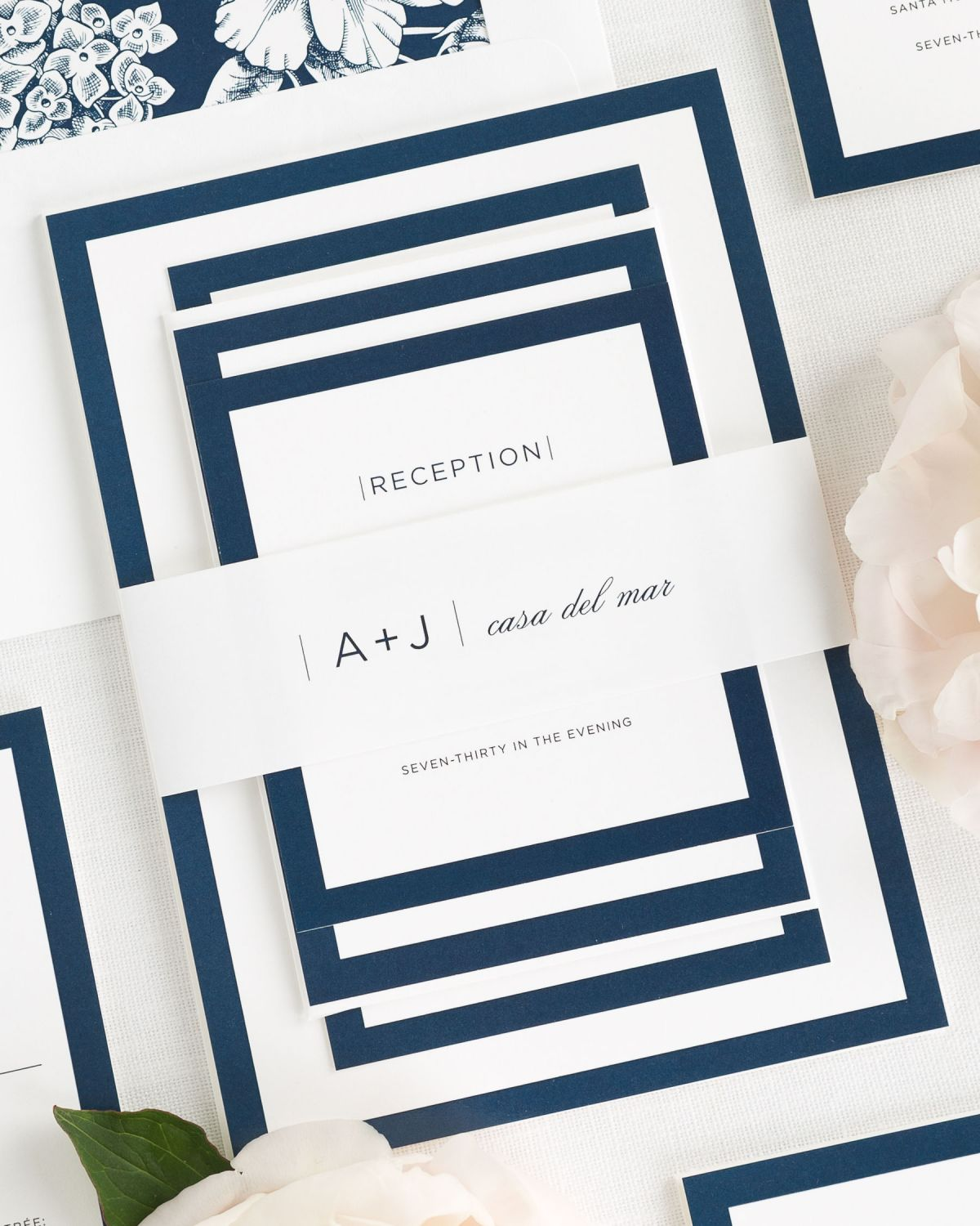 Navy Wedding Invitations with Belly Band and Hydrangea Envelope Liner
