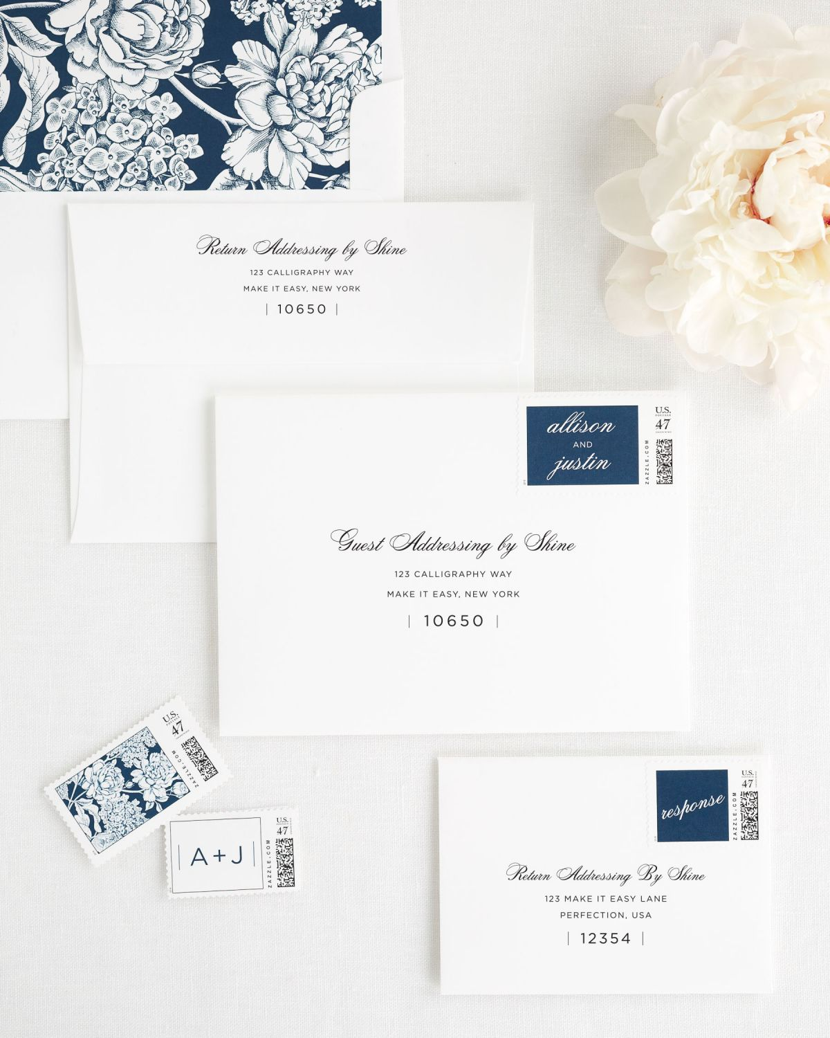 Wedding Invitations Envelopes with Navy Personalized Postage and Hydrangea Liner