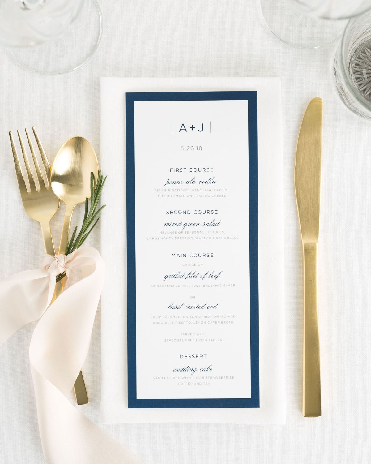 Sophisticated Modern Dinner Menus