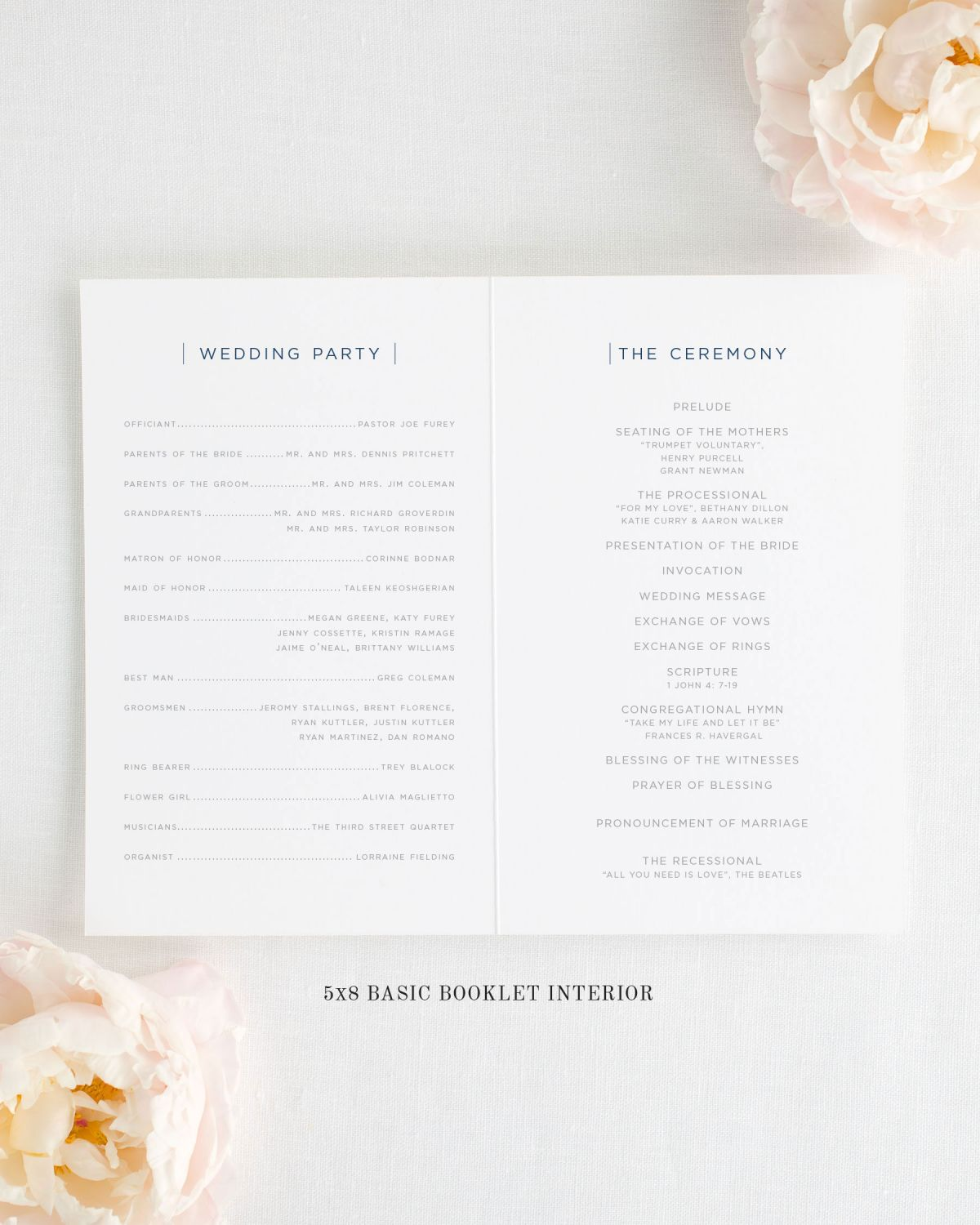 5x8 Wedding Program Interior