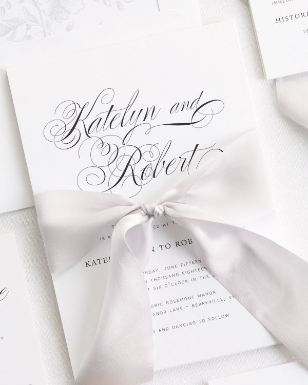 Southern Script Ribbon Wedding Invitations