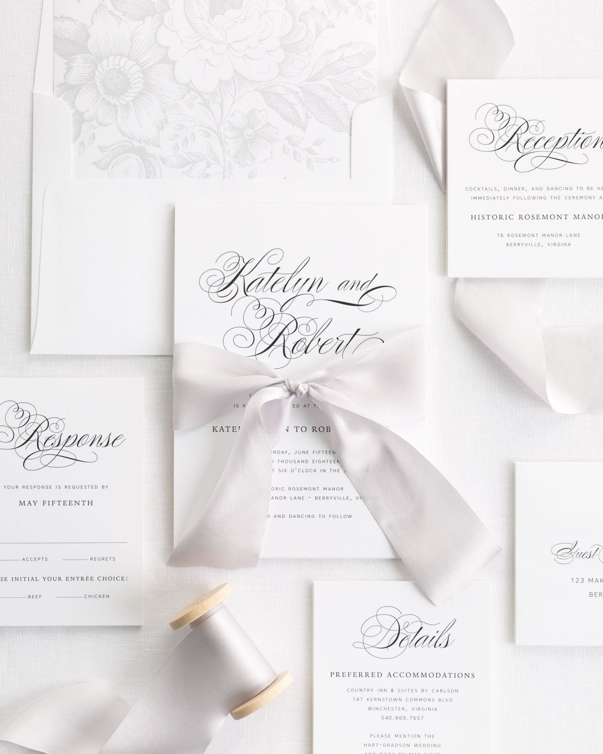 Complete Wedding Invitation Package with Platinum Ribbon and Enclosures