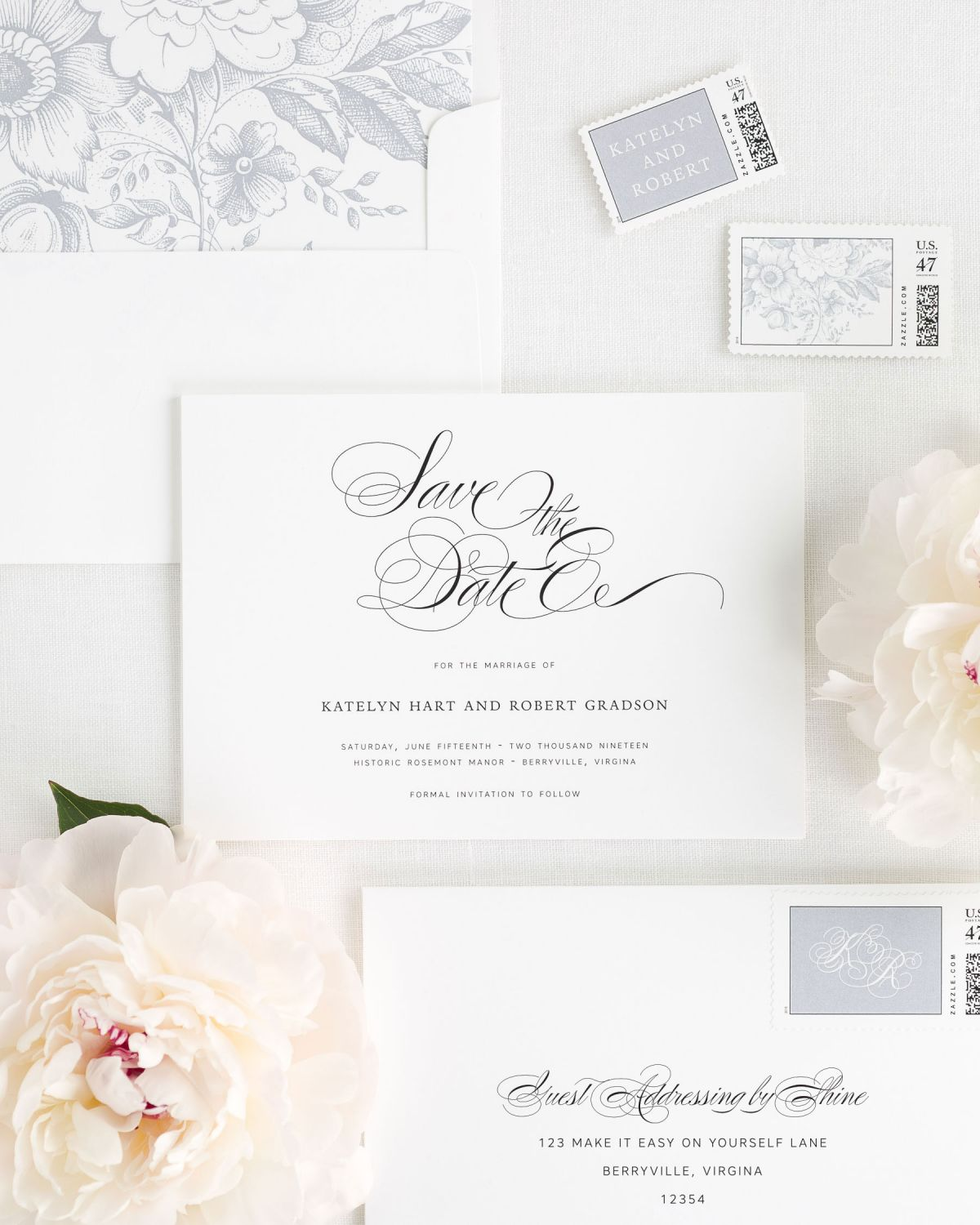 Save the Date with Dove Envelope Liner and Personalized Stamps