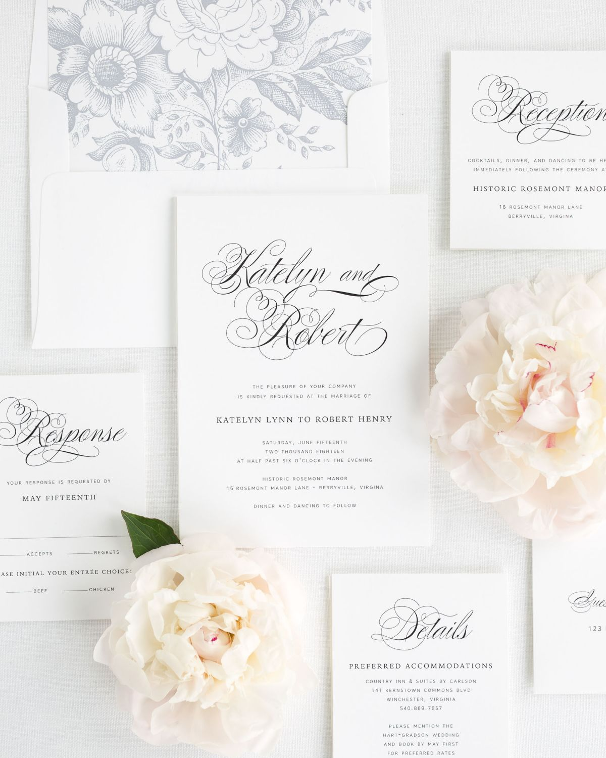 Southern Inspired Wedding Invitations with Floral Envelope Liner and Large Script Names