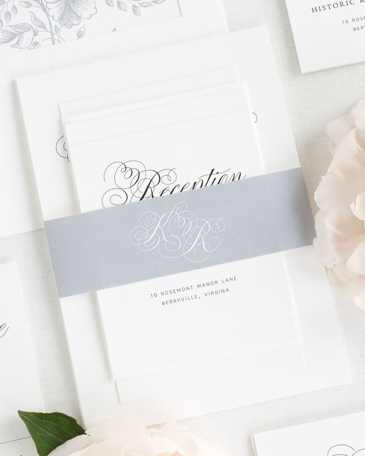 Dove Gray Wedding Invitation Suite with Floral Liner