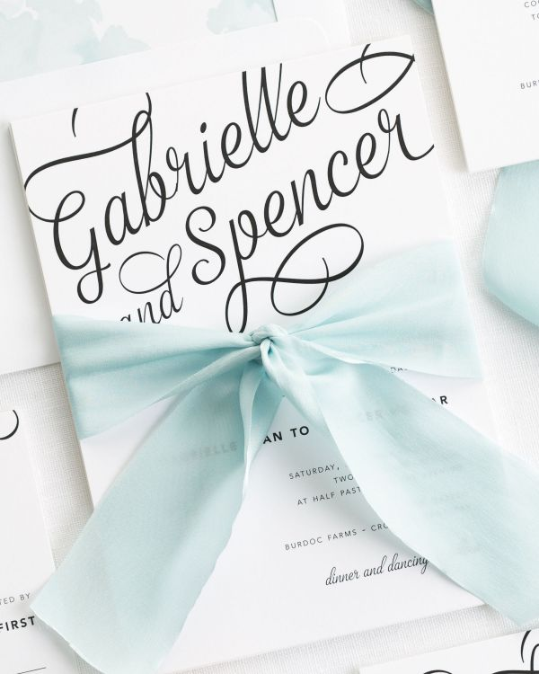 Statement Script Ribbon Wedding Invitations