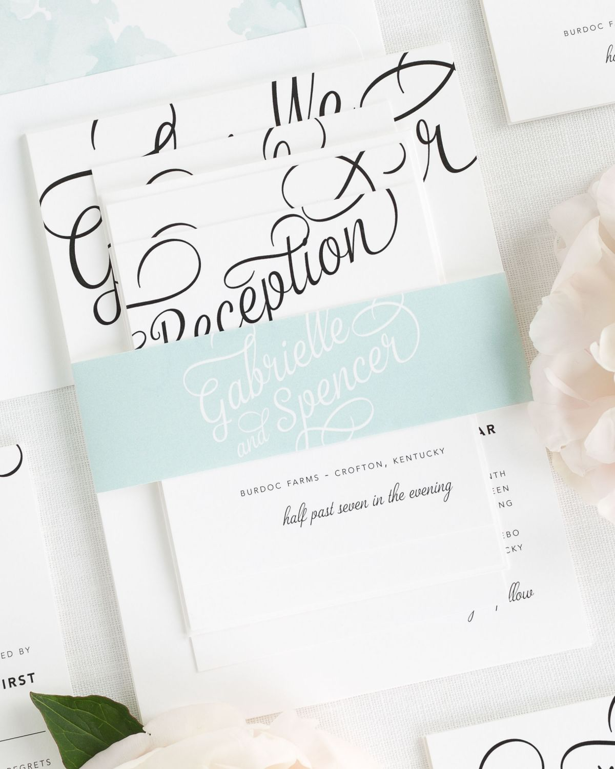 Modern Mint Blue Wedding Invitations with Belly Band