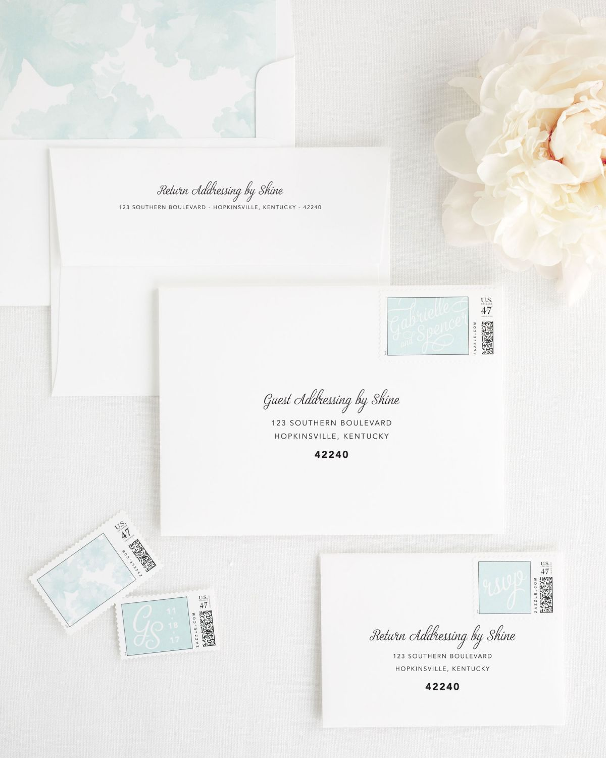 Wedding Invitation Envelopes with Mint Blue Liner and Guest Addressing